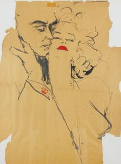"""Art - Drawing -  Sir Laurence Olivier and Marilyn Monroe, """"The Prince and the Showgirl"""". Signed """"Eula""""."""