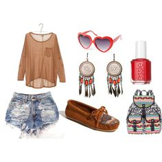 indie summer look, created by yoannaclaire3 on Polyvore