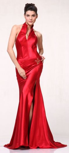 Red Collar Halter Dress Satin Formal Open Slit Sexy Full Length Gown $117.99