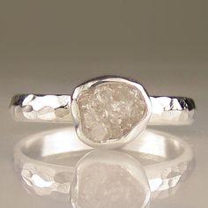Raw White Diamond Ring