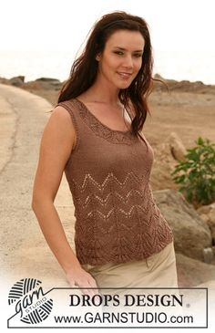 "DROPS top with lace pattern in ""Cotton Viscose"". Sizes: S - XXXL ~ DROPS Design"