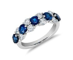 Classic Sapphire and Diamond Garland Ring in Platinum (7/8 ct. tw.) | Blue Nile