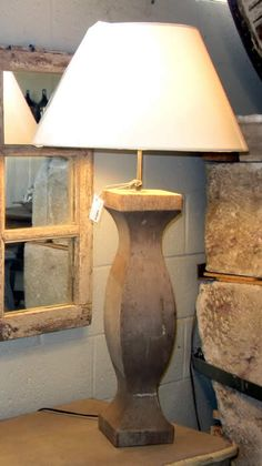 wood baluster lamps | Antique Wood Baluster Lamp