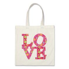 LOVE FLOWERED PATTERN BAGS