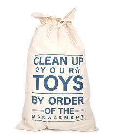 'Clean Up Your Toys' Canvas Storage Bag