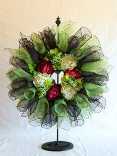 Deco Poly Mesh Wreath in Green, Pink and Chocolate
