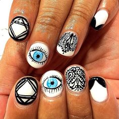 The amazing detail on this manicure might make you go cross-eyed. #nailart