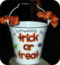 Personalized Halloween Bucket - Lots of Designs Available. $23.50, via Etsy.