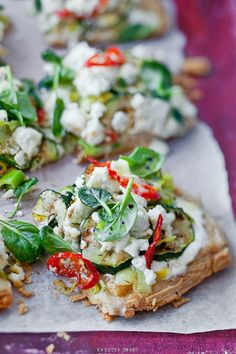 Puff pastry tart with zucchini, leek, goat cheese and chili