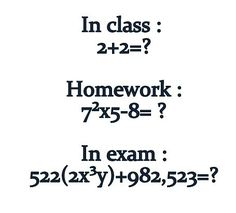funny class homework exam math equation