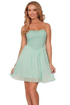 שמלת פרינסס סטרפלס מנטה | Kiki★D | מרמלדה מרקט
