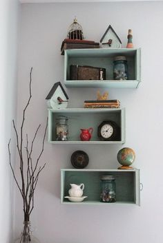 Give old drawers a new role in life as eye-catching shelves.