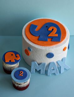 Fondant Elephant, Polka Dot and Birthday Kid's Name Cake Decorations Plus Elephant and Age Cupcake Toppers. $38.00, via Etsy.