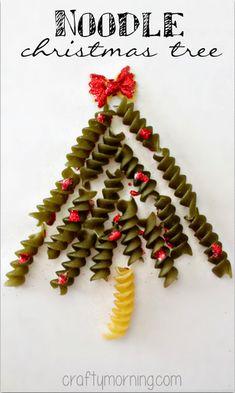 Noodle Christmas Tree Craft (Handmade Card Idea) #Christmas craft for kids | CraftyMorning.com