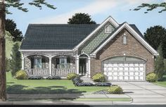 A brick-and-stone facade with cedar shakes, and a large front porch, decorate the exterior of this charming cottage-style home.  House Plan # 161087.