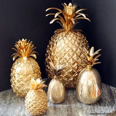 Gold Pineapple Jars & Ice Buckets.