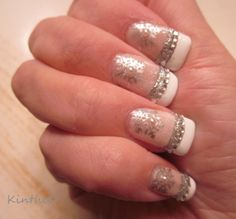 """""""I'm Dreaming of a White Bling Christmas 2013"""" - Julep """"Gemma"""" top coated with Essie Luxe Effects """"Pure Pearlfection"""", Julep """"Nicolette"""" tips, stamped with Sally Hansen Silver Sweep & XL Plate OB-M. Pearl & Crystal rhinestones from Born Pretty.  #nails #nailart"""