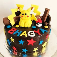 When you like Pokemon as well as chocolates #ovenstories #pokemoncake #cakestagram #rajkot #pokemon #chocolatecake #kidscakes