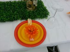 Garden party plate setting.