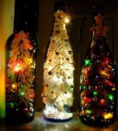holiday, wines, wine bottle crafts, bottle lights, christmas lights, christmas decoration crafts, wine bottles, bottl craft, diy christmas decorations