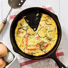 Zucchini and Red Pepper Frittata | Cooking Light #myplate #protein #veggies #dairy