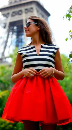 Gorgeous red mini skirt and sleeveless stripe top