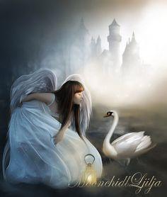 """Ever felt an angel's breath in the gentle breeze? A teardrop in the falling rain? Hear a whisper amongst the rustle of leaves? Or been kissed by a lone snowflake? Nature is an angel's favorite hiding place.""~Terri Guillemets Art by Moonchild Ljilja (~Gabriellyn~)"