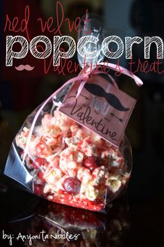 Valentine's Red Velvet Popcorn with Free Printable Easy Valentine's recipe using three ingredients!