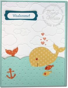 Oh, Whale Stampin' Up! Stamp Set with Happy Whale Clearlits die and Cloudy Day impressions folder. See video