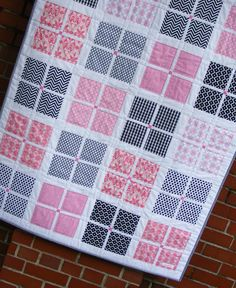 Modern Quilt and Burp Cloth Gift Set, Baby Girl Quilt, Baby Blanket Bedding, Pink and Black with Chevrons on Etsy