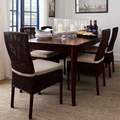 Cabria Honey Brown Woven Side Chair and Cushion in Dining Chairs | Crate and Barrel
