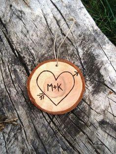 Custom Initials Wood Slice Christmas Ornament | Very Jane