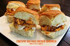 Crock Pot Buffalo Chicken Sandwich on Kings Hawaiian Rolls! Add avocado, blue cheese dressing/crumbles, and/or ranch.