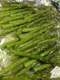 Simple asparagus - tossed with olive oil and garlic salt and baked in oven at 350 degrees for 20 min.