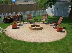 Build your own outdoor Fire Pit and Patio... I would like this but my husband is not convinced.