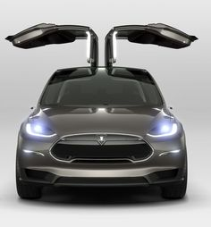 "Tesla Model X - ""Falcon Wings"" up"