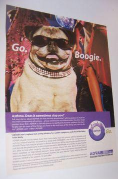 2004 Original Magazine Print Ad Pug Dog Advair Go.Boogie.