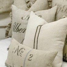 grain sacks decor, idea, grainsack, pillow talk, sack pillow, grain sack bedding, burlap pillows, french, linen