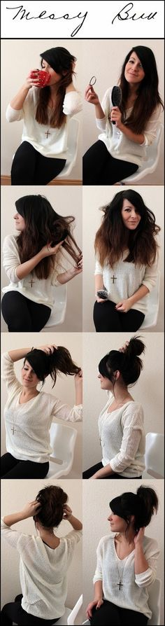 Messy Bun Tutorial. And I like her necklace. :)