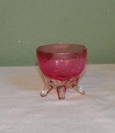 Antique Victorian art glass Salt Cellar cranberry