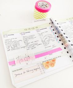 Planner+with+neon+washi+tape Notebook Ideas | A Planner with Neon MT Washi Tape organ, dream, planner, washi tape