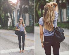 Gray Tee + Dark Skinny Jeans + Pumps + Black Leather Satchel