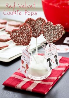 Red Velvet Cookie Pops + Free Printable Tags for Valentines Day! #cookiepops #redvelvet #freeprintables #valentinesday. ( Be sure to use Gluten Free Flour)