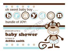 baby boy shower invite monkey theme #invite #baby shower #monkey #kids #baby