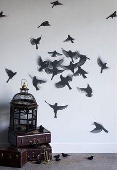 tattoo ideas, wall art, birdcag, decorating ideas, wall decals, wallpapers, wall stickers, birds, wall design