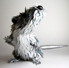 Animal Sculpture Made from Shattered CDs