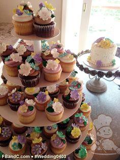 "Design W 0403 | 6"" Butter Cream Wedding Cake , Cupcakes & Sugar Flowers | Custom Quote"