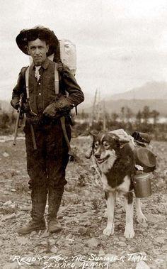 histori, gold rush, vintage photographs, prospector, old photographs, alaska, working dogs, pack dog, friend