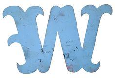 Sky Blue Metal Marquee Letter W on OneKingsLane.com
