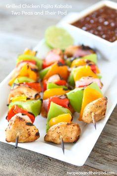 Grilled Chicken Fajita Kabobs on twopeasandtheirpod.com #recipe #chicken #summer